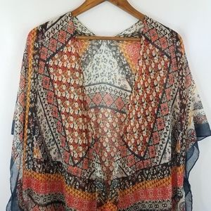 Beautiful Boho Sheer Floral Kimono Cover Wrap